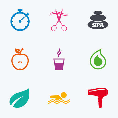 hairdressing scissors: Spa, hairdressing icons. Swimming pool sign. Water drop, scissors and hairdryer symbols. Flat colored graphic icons. Illustration