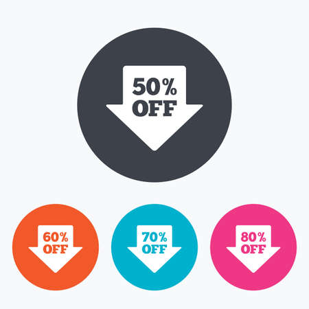 discount tag: Sale arrow tag icons. Discount special offer symbols. 50%, 60%, 70% and 80% percent off signs. Circle flat buttons with icon. Illustration
