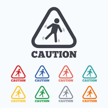 wet floor sign: Caution wet floor sign icon. Human falling triangle symbol. Colored flat icons on white background. Illustration