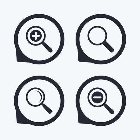 zoom: Magnifier glass icons. Plus and minus zoom tool symbols. Search information signs. Flat icon pointers.