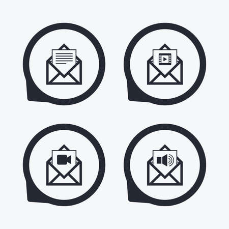 voice mail: Mail envelope icons. Message document symbols. Video and Audio voice message signs. Flat icon pointers.