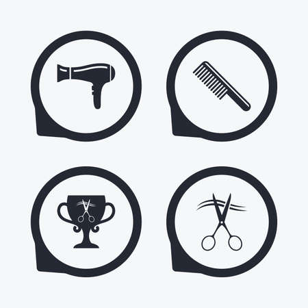 comb hair: Hairdresser icons. Scissors cut hair symbol. Comb hair with hairdryer symbol. Barbershop winner award cup. Flat icon pointers. Illustration