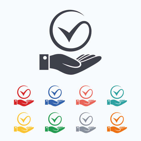 hand colored: Tick and hand sign icon. Palm holds check mark symbol. Colored flat icons on white background.