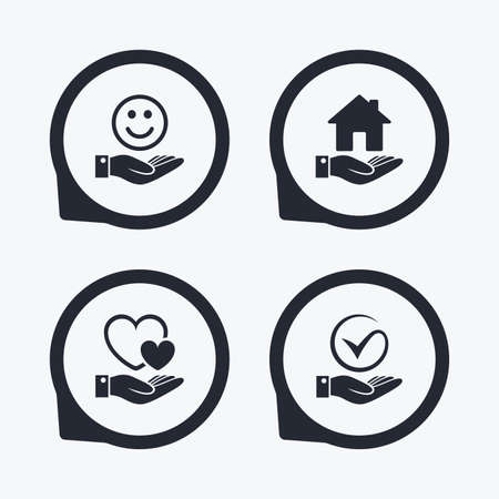 position d amour: Smile and hand icon. Heart and Tick or Check symbol. Palm holds house building sign. Flat icon pointers.