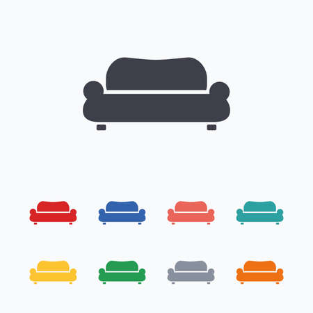 comfortable: Comfortable sofa sign icon. Modern couch furniture symbol. Colored flat icons on white background. Illustration
