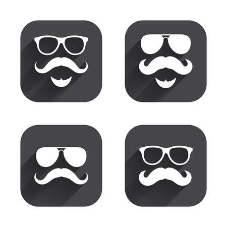 facial hair: Mustache and Glasses icons. Hipster with beard symbols. Facial hair signs. Square flat buttons with long shadow.