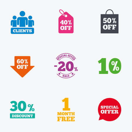 reductions: Sale discounts icon. Shopping, clients and speech bubble signs. 20, 30, 40 and 50 percent off. Special offer symbols. Flat colored graphic icons. Illustration