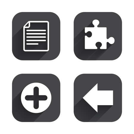puzzle corners: Plus add circle and puzzle piece icons. Document file and back arrow sign symbols. Square flat buttons with long shadow. Illustration