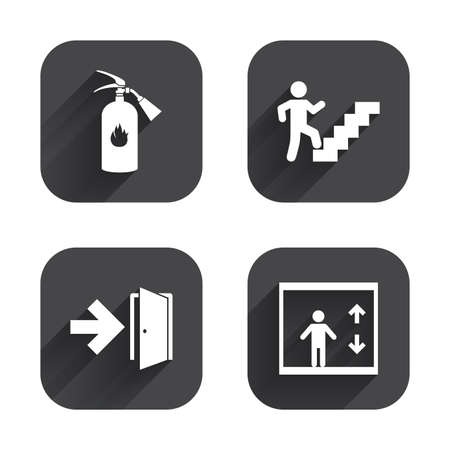 Emergency exit icons. Fire extinguisher sign. Elevator or lift symbol. Fire exit through the stairwell. Square flat buttons with long shadow.