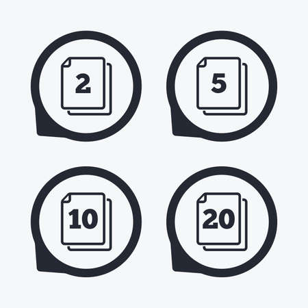 quantity: In pack sheets icons. Quantity per package symbols. 2, 5, 10 and 20 paper units in the pack signs. Flat icon pointers.