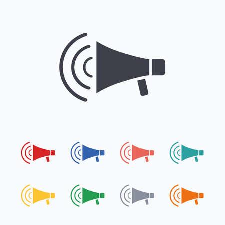 loudspeaker: Megaphone sign icon. Loudspeaker strike symbol. Colored flat icons on white background. Illustration