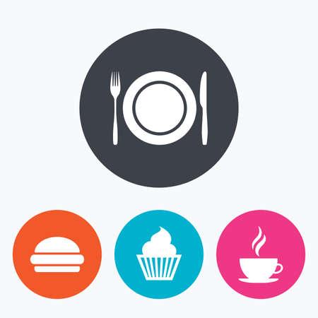 Eten en drinken iconen. Muffin cupcake symbool. Plaat schotel met vork en mes teken. Hete koffie beker en hamburger. Cirkel flat knoppen met het pictogram. Vector Illustratie