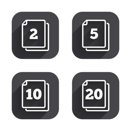 2 5: In pack sheets icons. Quantity per package symbols. 2, 5, 10 and 20 paper units in the pack signs. Square flat buttons with long shadow.