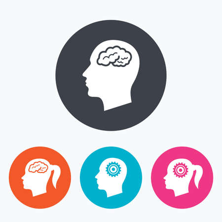 pigtail: Head with brain icon. Male and female human think symbols. Cogwheel gears signs. Woman with pigtail. Circle flat buttons with icon.