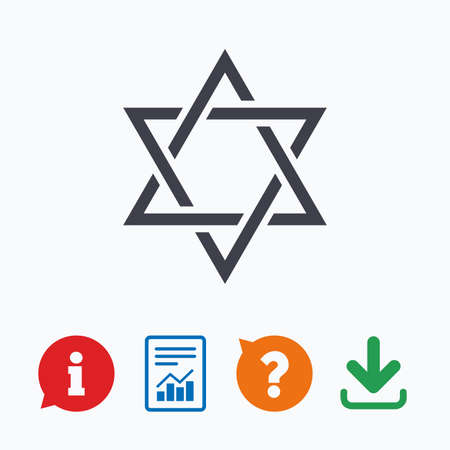 hexagram: Star of David sign icon. Symbol of Israel. Jewish hexagram symbol. Shield of David. Information think bubble, question mark, download and report.