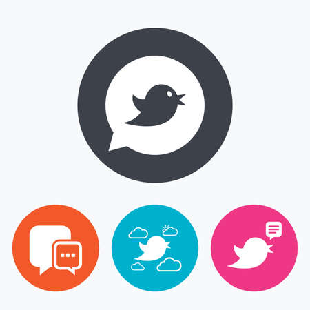 three dots: Birds icons. Social media speech bubble. Chat bubble with three dots symbol. Circle flat buttons with icon.