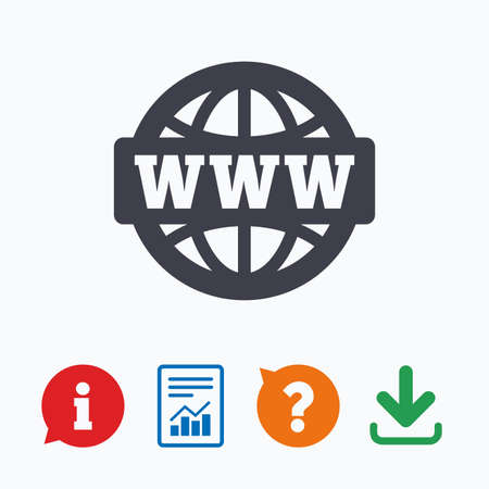 world wide web: WWW sign icon. World wide web symbol. Globe. Information think bubble, question mark, download and report. Illustration