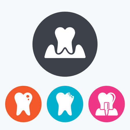 gingivitis: Dental care icons. Caries tooth sign. Tooth endosseous implant symbol. Parodontosis gingivitis sign. Circle flat buttons with icon.