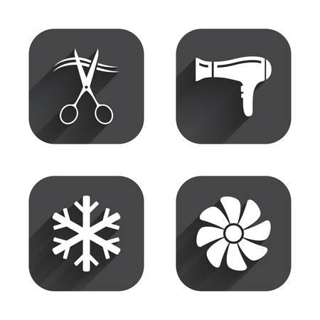 fiambres: Servicios de hoteles iconos. Aire acondicionado, Secador de pelo y ventilaci�n en los signos de las habitaciones. Control climatico. Peluquer�a o barber�a s�mbolo. botones planos cuadrados con larga sombra.