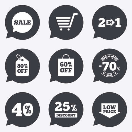 low price: Sale discounts icon. Shopping cart, coupon and low price signs. 25, 40 and 60 percent off. Special offer symbols. Flat icons in speech bubble pointers. Illustration