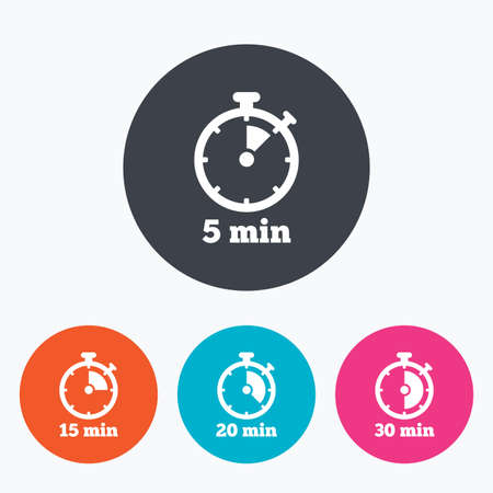 15 to 20: Timer icons. 5, 15, 20 and 30 minutes stopwatch symbols. Circle flat buttons with icon. Illustration