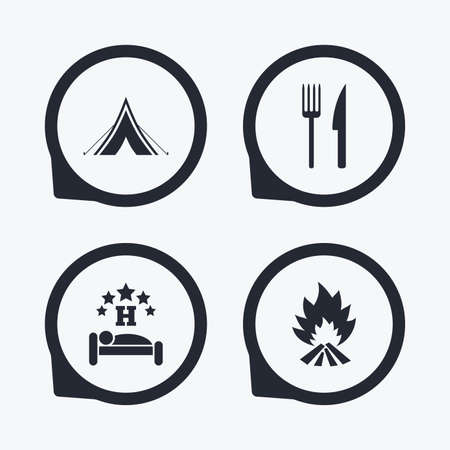 fork in the road: Food, sleep, camping tent and fire icons. Knife and fork. Hotel or bed and breakfast. Road signs. Flat icon pointers.