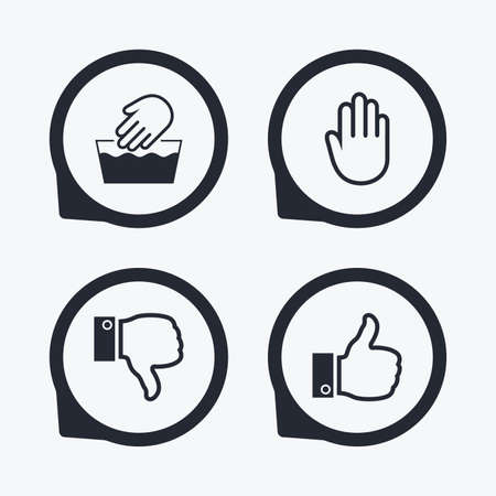 washable: Hand icons. Like and dislike thumb up symbols. Not machine washable sign. Stop no entry. Flat icon pointers.
