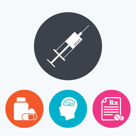syringe inoculation: Medicine icons. Medical tablets bottle, head with brain, prescription Rx and syringe signs. Pharmacy or medicine symbol. Circle flat buttons with icon. Illustration