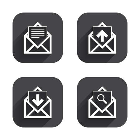 outbox: Mail envelope icons. Find message document symbol. Post office letter signs. Inbox and outbox message icons. Square flat buttons with long shadow.