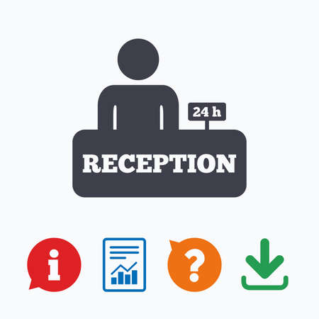administrator: Reception sign icon. 24 hours Hotel registration table with administrator symbol. Information think bubble, question mark, download and report.