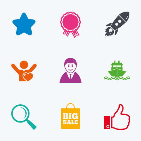 medal like: Online shopping, e-commerce and business icons. Start up, award and customers like signs. Big sale, shipment and favorite symbols. Flat colored graphic icons.