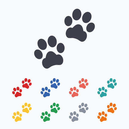Paw sign icon. Dog pets steps symbol. Colored flat icons on white background.