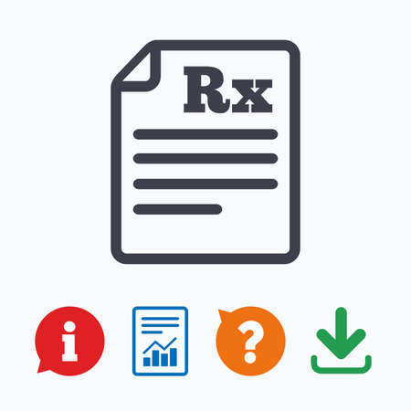 Medical prescription Rx sign icon. Pharmacy or medicine symbol. Information think bubble, question mark, download and report. Vektorové ilustrace