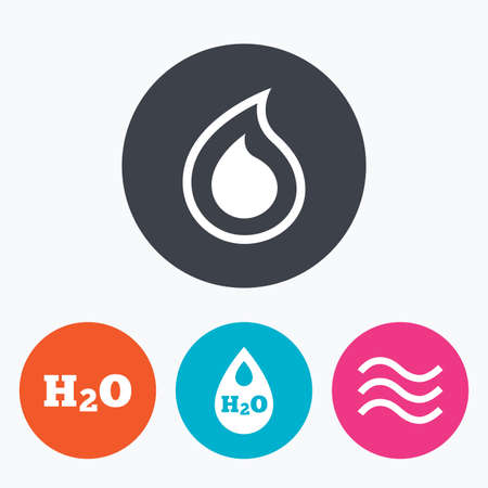 tear: H2O Water drop icons. Tear or Oil drop symbols. Circle flat buttons with icon.
