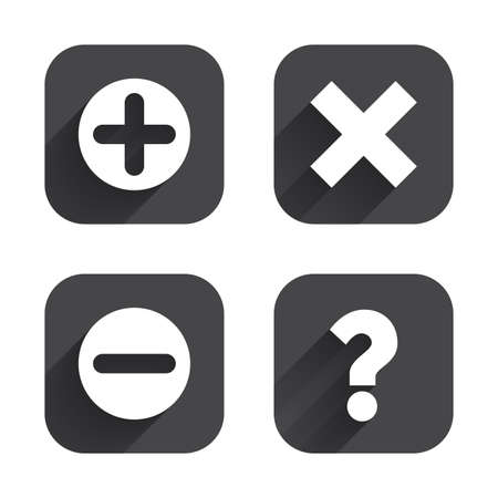 enlarge: Plus and minus icons. Delete and question FAQ mark signs. Enlarge zoom symbol. Square flat buttons with long shadow. Illustration