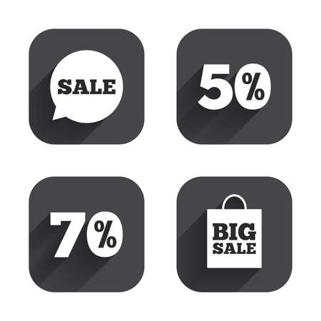 black button: Sale speech bubble icon. 50% and 70% percent discount symbols. Big sale shopping bag sign. Square flat buttons with long shadow. Illustration