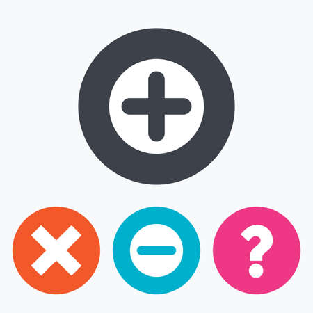 enlarge: Plus and minus icons. Delete and question FAQ mark signs. Enlarge zoom symbol. Circle flat buttons with icon.