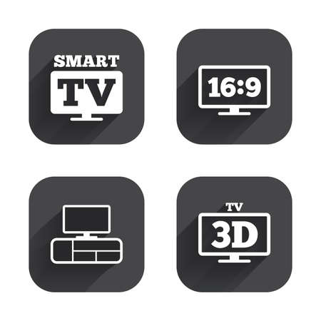 3d mode: Smart TV mode icon. Aspect ratio 16:9 widescreen symbol. 3D Television and TV table signs. Square flat buttons with long shadow. Illustration
