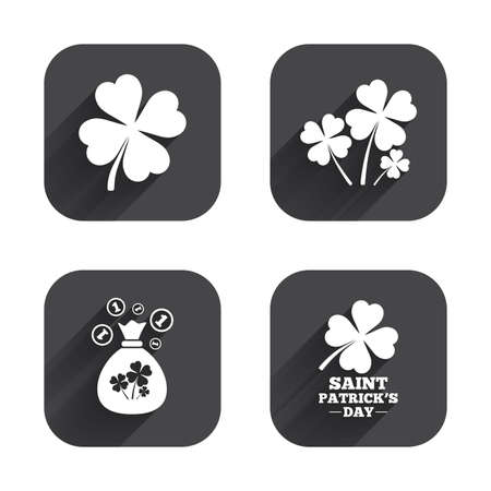 clover buttons: Saint Patrick day icons. Money bag with clovers and coins sign. Symbol of good luck. Square flat buttons with long shadow.