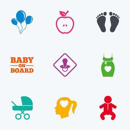 newborn footprint: Pregnancy, maternity and baby care icons. Air balloon, baby carriage and pacifier signs. Footprint, apple and newborn symbols. Flat colored graphic icons. Illustration
