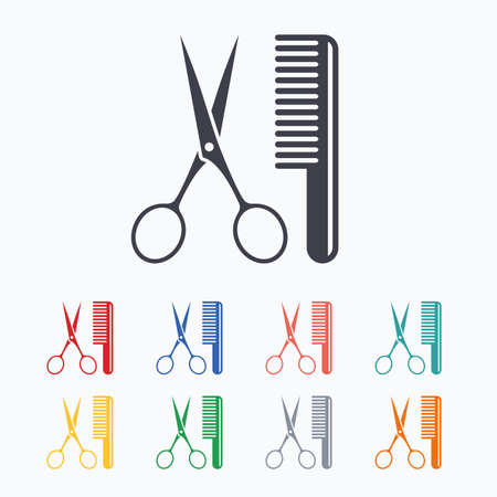 salon background: Comb hair with scissors sign icon. Barber symbol. Colored flat icons on white background.