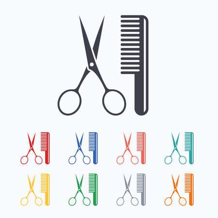 Kam het haar met een schaar teken icoon. Barber symbool. Gekleurde vlakke pictogrammen op een witte achtergrond. Stock Illustratie