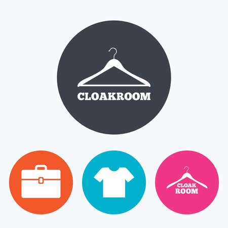 cloakroom: Cloakroom icons. Hanger wardrobe signs. T-shirt clothes and baggage symbols. Circle flat buttons with icon.
