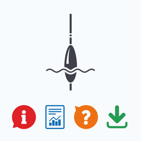 tackle: Fishing sign icon. Float bobber symbol. Fishing tackle. Information think bubble, question mark, download and report.