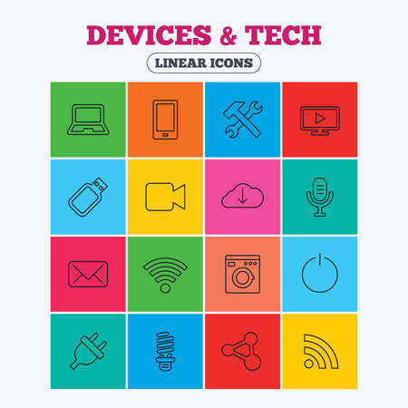 smartphone icon: Devices and technologies icons. Notebook, smartphone and wi-fi symbols. Usb flash, video camera, microphone thin outline signs. Washing machine, fluorescent lamp and electric plug. Linear icons in colored squares. Illustration