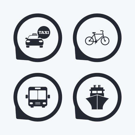 transport icons: Transport icons. Taxi car, Bicycle, Public bus and Ship signs. Shipping delivery symbol. Speech bubble sign. Flat icon pointers. Illustration