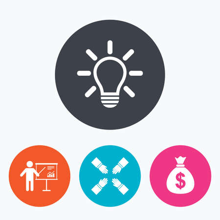 standing lamp: Presentation billboard icon. Dollar cash money and lamp idea signs. Man standing with pointer. Teamwork symbol. Circle flat buttons with icon.