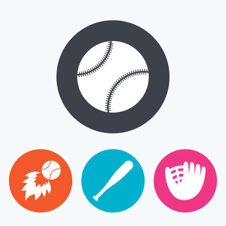 fireball: Baseball sport icons. Ball with glove and bat signs. Fireball symbol. Circle flat buttons with icon.