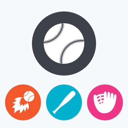 icônes Baseball sport. Balle avec gants et chauve-souris signes. symbole Fireball. Encerclez boutons plats avec l'icône.