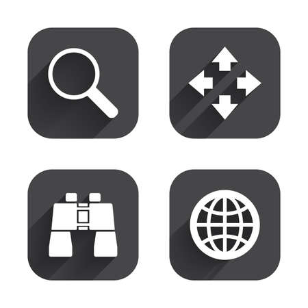 fullscreen: Magnifier glass and globe search icons. Fullscreen arrows and binocular search sign symbols. Square flat buttons with long shadow. Illustration